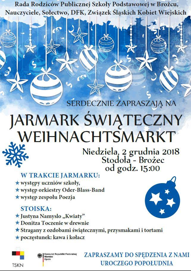 Weihnachtsmarkt W.Weihnachtsmarkt Mniejszość Niemiecka Towarzystwo Społeczno